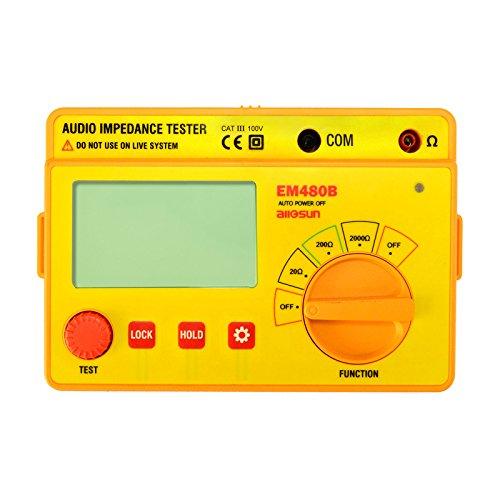 allsun EM480B Digital Handheld Megohmmeter Insulation Resistance Tester Digital Audio Impedance Tester Speaker Voice Resistor Ohmmeter LCD Backlight Yellow