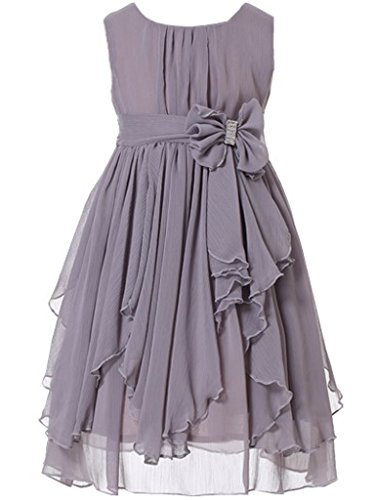 (Bow Dream Flower Girl Dress Bridesmaid Ruffled Chiffon Grey)