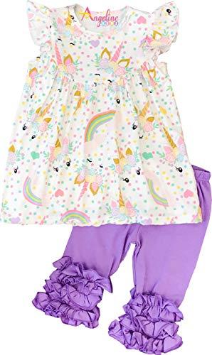 - Boutique Clothing Girls Spring Summer Pastel Unicorn Lavender Capri Set 6/2XL