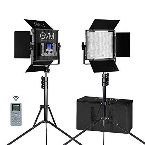 GVM 2 Packs 896 LED Video Light and Stand Lighting Kit Dimmable Bi-Color LED Video Light (2300K-6800K, CRI 97+) Aluminum Alloy with Wireless Controller for Studio, YouTube Video - Light 2l Lithium
