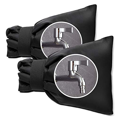 badiJum Faucet Covers for Winter, Large Outdoor Faucet Socks, Garden Hose Faucet Protector Cold Insulation Freeze Protection, 8.6 by 6.3 Inch, Set of 2, Black (Rub Faucet)