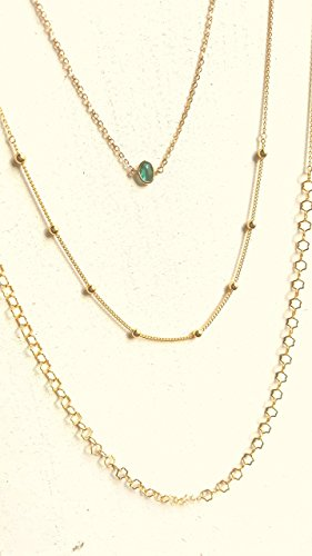 (Gorgeous Layering Necklace Set Triple Long Chain Multi Layer Green Irregular Glass)