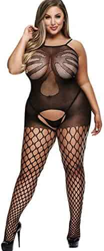 bf32e7035 Baci White Label Crotchless Jacquard Bodystocking Black Queen Curved 1x 2X  Plus Size Lingerie Style 5013