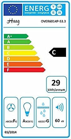 Campana extractora de pared Haag Vertical C de acero inoxidable + cristal negro + LED y filtro de carbón gratis de 60 cm, abierta: Amazon.es: Grandes electrodomésticos