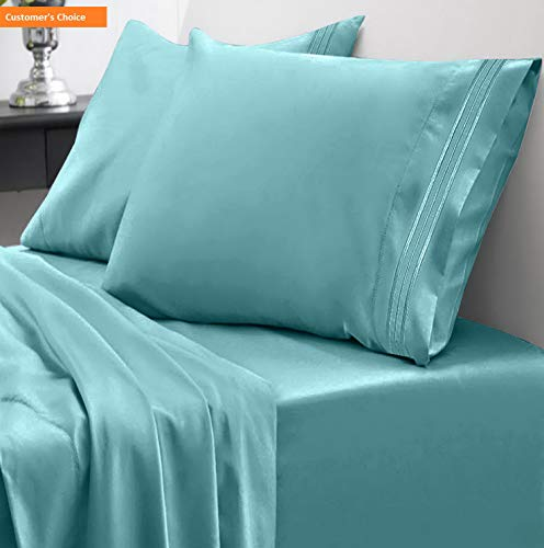 Mikash 1800 Thread Count Sheet Set - Soft Egyptian Quality Microfiber Hypoallergenic Sheets - Luxury Set with Flat Sheet, Fitted Sheet, 2 Pillow Cases, Queen, Misty Blue | Style ()