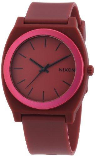 Nixon Time Teller P Dark Red Dial Polyurethane Strap Mens Watch A1191298