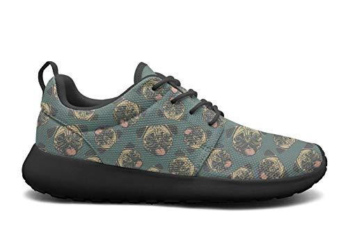 Eoyles gy Happy Pug Fest Blue Man Slip Resistant Lightweight Running Shoes
