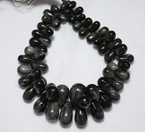 Black Cat's Eye Drops, Plain Tear Drops, Black Cat's Eye Plain Drops Gemstone, 4x6mm - 10x17mm Approx 7.5 Inch by - Heart Briolette