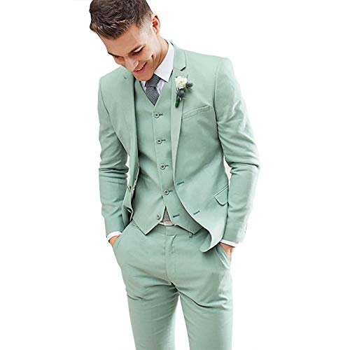 Mens Summer Thin Relax Mint Green 3 Pieces Slim Fit Tuxedo Groom Single Breasted Stylish -