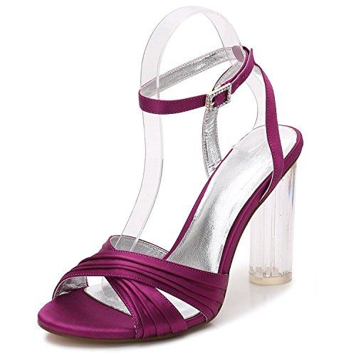 L@YC Frauen öffnen Zehe-Hochzeits-Schuhe F2615-7 Raue Abend-Tanz beschuht Brautjungfer/Partei Purple