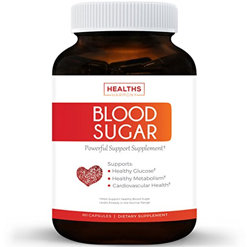 Best Blood Sugar Support Supplement - Helps with Blood Glucose & Weight Loss - Natural Herb Health Level Formula - 100% Money Back Guarantee - 60 Capsule Pills - High amounts of Cinnamon Bark Powder