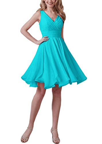 Short V Neck Chiffon Bridesmaid Dresses for Women with Sleeves Formal Prom Gowns (Turquoise,12)
