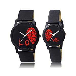 REMIXON Couple Watch with Half Love White Dial Men & Women Analog Watch – for Couple