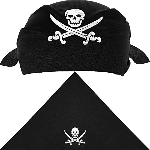 12 Pieces Pirate Bandana Black Pirate Captain's Headscarf for Pirate Theme Party, Halloween and Children Party Favors (Style A)]()
