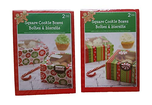 (Christmas Treat & Cookie Square Gift Boxes (Set of 4) - For Gift Giving - For Treats, Containers & Tins, Pastry, Candy, Party Favors - Peppermint & Snowflake)