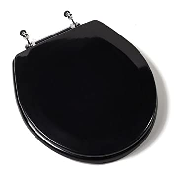 wooden black toilet seat. Comfort Seats C1B4R2 90CH Deluxe Molded Wood Toilet Seat with Chrome  Hinges Round