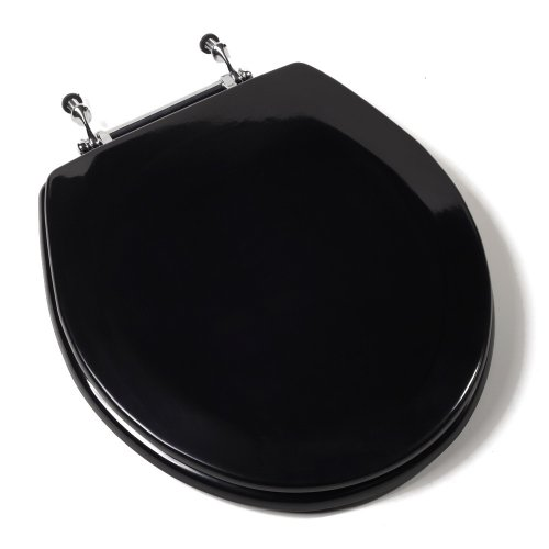 Comfort Seats C3B4R290CH Deluxe Molded Wood Toilet Seat with Chrome Hinges, Round, Black