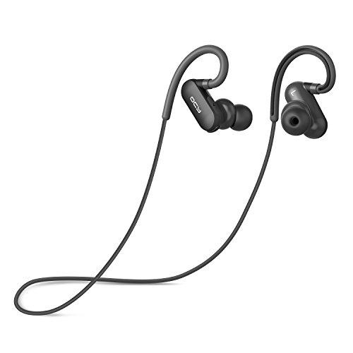 QCY Bluetooth Earbuds Headphones, Best Wireless Sports Earphones with Mic IPX4 Waterproof HD Stereo Sweatproof Earbuds for iPhone Gym Running Workout 8 Hour Noise Cancelling Microphone Headsets