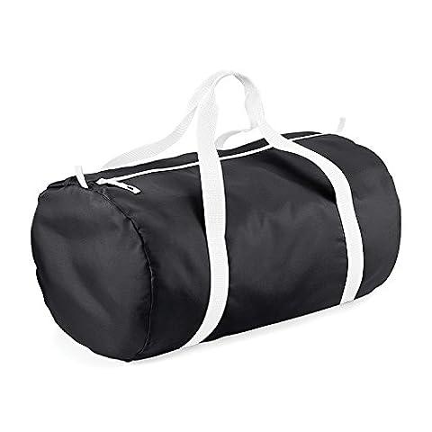 BagBase Packaway Barrel Bag / Duffel Water Resistant Travel Bag (32 Liters) (One Size) (Black / - Black Label Duffel