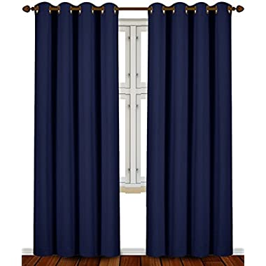 Blackout Room Darkening Curtains Window Panel Drapes - (Navy Blue Color) 2 Panel Set, 52 inch wide by 84 inch long each panel by Utopia Bedding