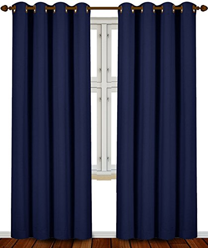 Blackout Room Darkening Curtains Window Panel Drapes   (Navy Blue Color) 2  Panel Set, 52 Inch Wide By 84 Inch Long Each Panel By Utopia Bedding