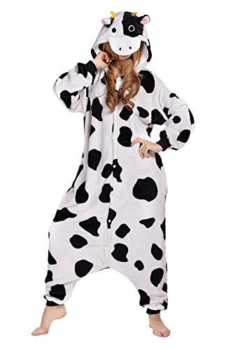 NEWCOSPLAY Unisex Adult One- Piece Cosplay Animal Pajamas Halloween Costume (XL, Cow)