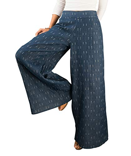 (Tropic Bliss Women's Fairtrade Organic Cotton Palazzo Pants, Blue White)
