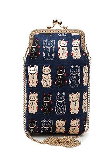 Gules Bag Bag Slanting Suerte de Phone la Bag Azul Cero De Mobile Gato Slanting Cartera aPPZnOwq