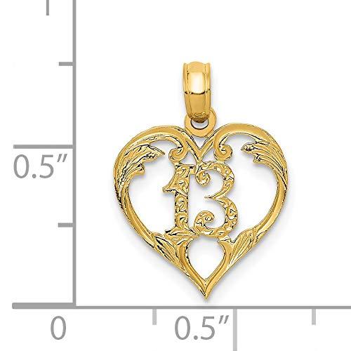 14k 13 in Heart Cut-out Pendant