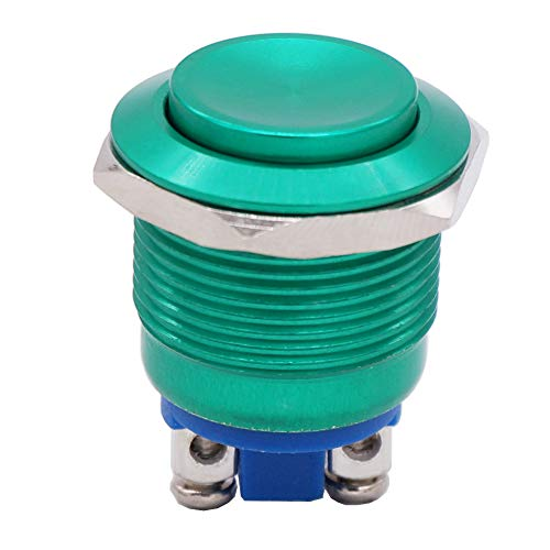 Twidec / 19mm Waterproof Green Metal Shell Momentary Raised Top Push Button Switch 3A/12~250V SPST 1NO Start Button for car Modification Switch(Quality Assurance for 1 Years) M-19-G-G