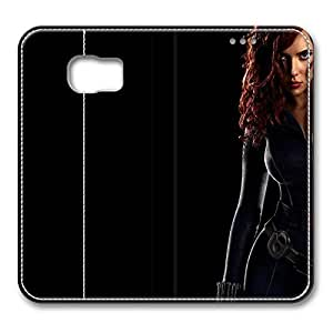 Samsung Galaxy S6 Case, S6 Leather Case - Customized Design PU Leather Wallet Case Flip Cover for Samsung Galaxy S6 Black Widow The Avengers Premium Leather Case for Samsung Galaxy S6