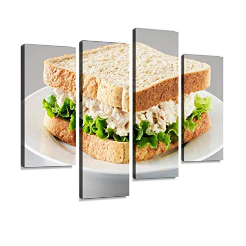 (Tuna Salad Sandwich Canvas Wall Art Hanging Paintings Modern Artwork Abstract Picture Prints Home Decoration Gift Unique Designed Framed 4 Panel)