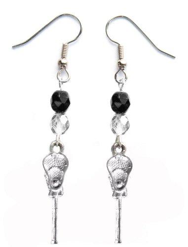 ''Lacrosse Stick & Ball'' Lacrosse Earrings (Team Colors Black & Silver) by Edge Sports