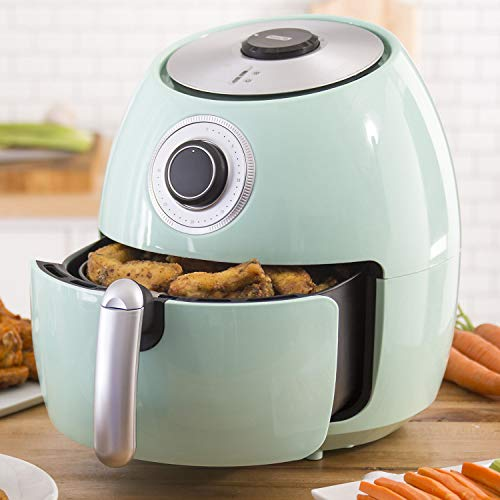 Dash Electric Air Fryer with Temperature Control, Non Stick Fry Basket, 6 qt Family Size Air Fryer Red (Aqua) ()