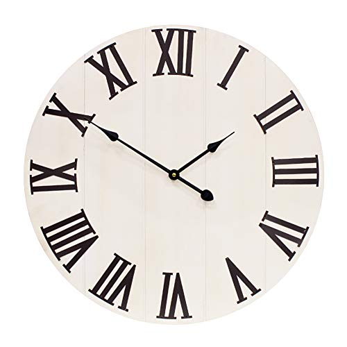 YIDIE 36 inch Large Wall Clock Solid Wood & Metal Roman Numerals Decoration for Farmhouse Home
