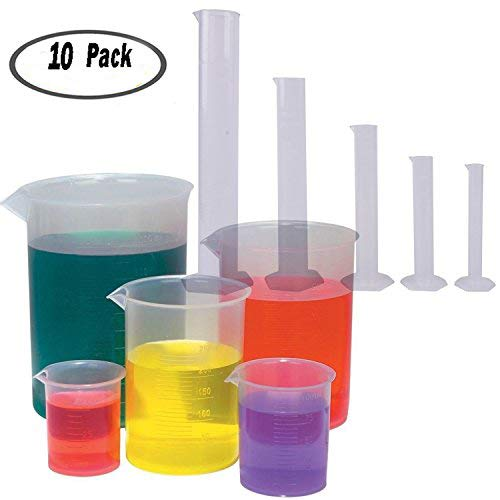 5 Sizes Clear Plastic Graduated Cylinders (10 25 50 100 250ml) 5 Pack Plastic Beakers Set- 50, 100, 250, 500, 1000ML -