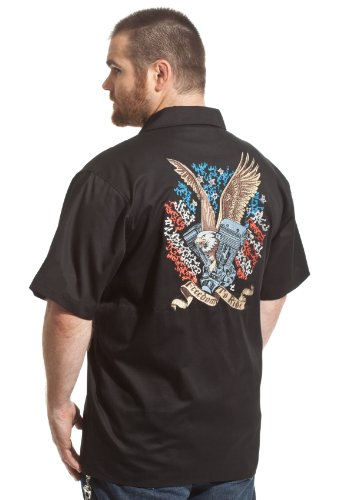 (Dragonfly 4th of July Eagle Freedom to Ride Biker Work Shirt (L))