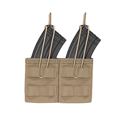 Warrior Assault Systems Bungee Retention Double MOLLE Open AK 7.62mm Mag Pouch (2 Magazine), Coyote Tan