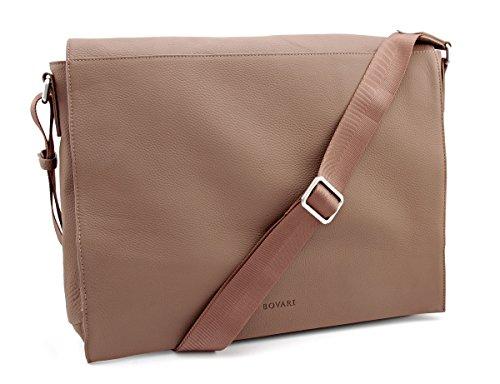 Bovari echt Leder Messenger Bag Umhängetasche Schultertasche Laptoptasche Notebooktasche (bis 15,6 Zoll) Model Metz - whiskey / braun- 39x31x9 cm - Limited Premium Edition