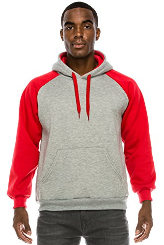 JC DISTRO Mens Hipster Hip Hop Raglan Sleeve Basic Active Casual Pullover Red Hoodie (2 Tone Hoodie)
