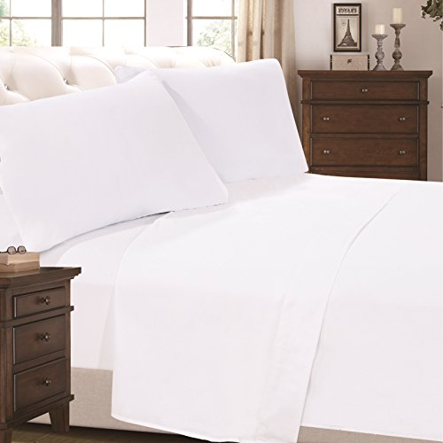 6 Piece Super Soft Luxurious Comfortable Bed Sheet Set (Queen, White) by Cheer Collection