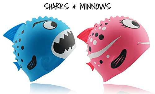 [Fun Design Kids Silicone Swim Cap Animal Shaped for Boys and Girls Aged 3-12 Shark - Blue] (Funny Hats For Sale)