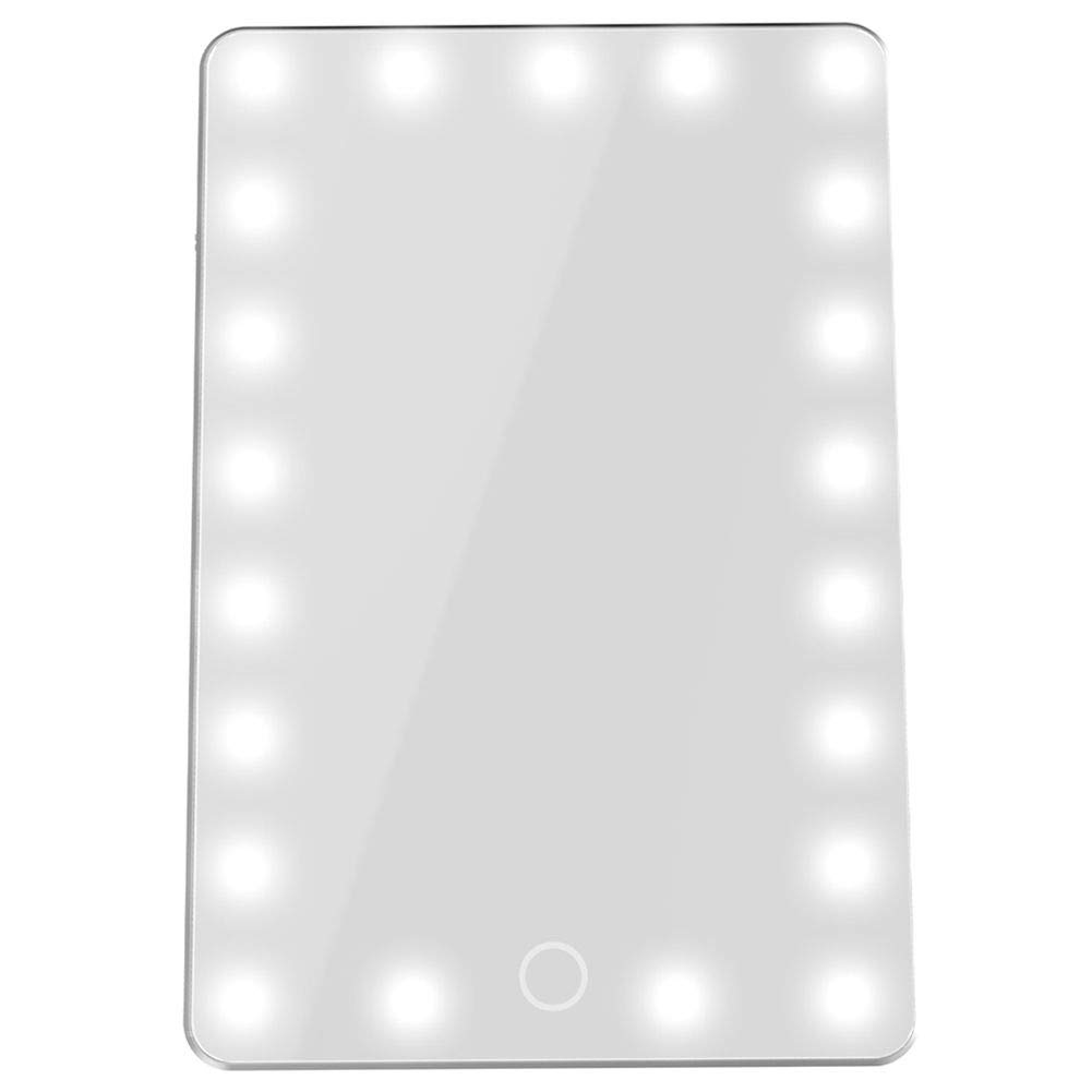 TOOGOO Lighted Makeup Mirror Vanity Mirror with Lights, Touch-Screen Dimming, Portable High Definition Clarity Cosmetic Light Up Magnifng Mirror Silver