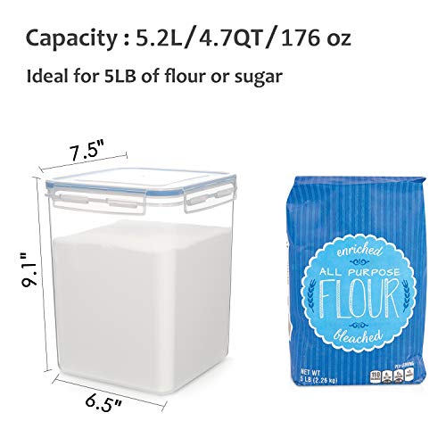 HOOJO Airtight Food Storage Containers with Lids, 8 Piece Large Flour and Sugar Containers, BPA Free Plastic Dry Food Storage Containers for Kitchen Pantry Organization- Blue