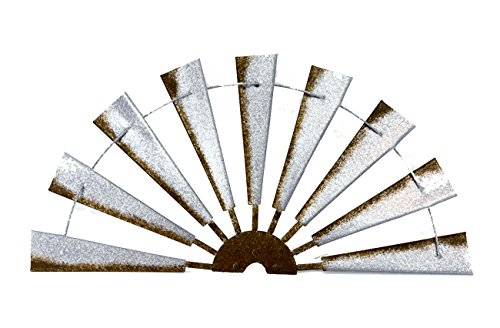 Cheap Zeckos Metal Wall Sculptures Distressed Galvanized Finish Windmill Half Metal Wall Hanging 36 Inch 35.75 X 17.75 X 2.25 Inches Gray