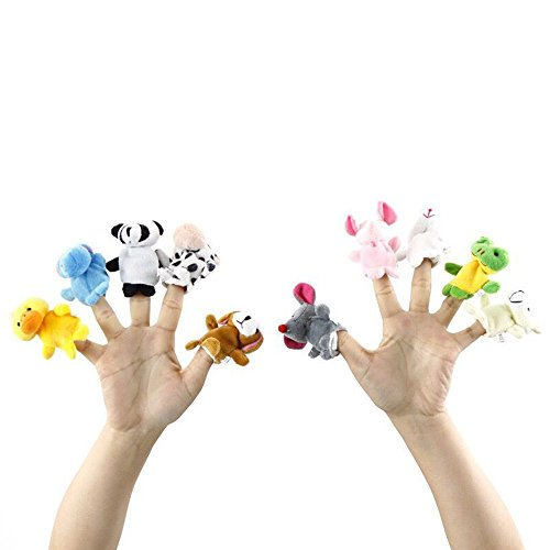 LW 10 pcs Cartoon Animal Finger Puppets Cute Animal Finger Puppets for Children, Shows, Playtime, Schools(10 Animals)