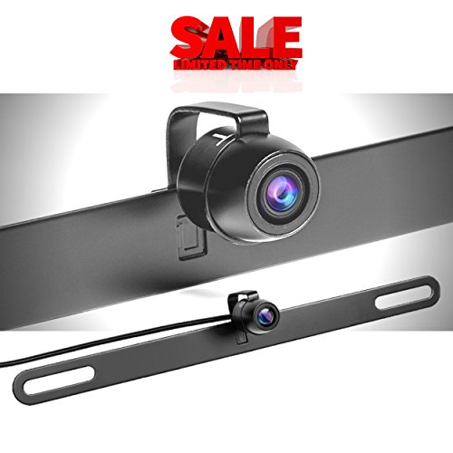 【Upgraded】Car Backup Camera License Plate - Front View / Rear View Camera - 150° Viewing Angle Universal Waterproof High Definition Color Night Vision Reverse Camera (TTP-C13B) - Limited Time Sale