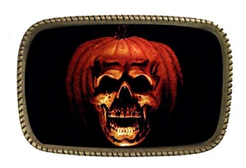 Pumpkin Head Halloween Face Scary Brass Belt Buckle Made In (Halloween Pumpkin Head Drawings)