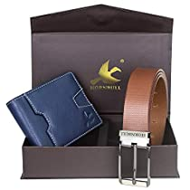 Hornbull Mens Navy Wallet and Brown Belt Combo BW102110