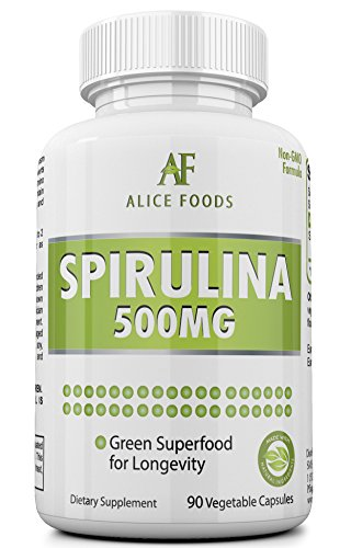 Alice Foods Spirulina Superfood – 500mg Maximum Strength Supplement – up-to 90 Days Supply – 90 Veggie Capsules – Improves Digestion and Bowel Function – Natural Detox For Sale